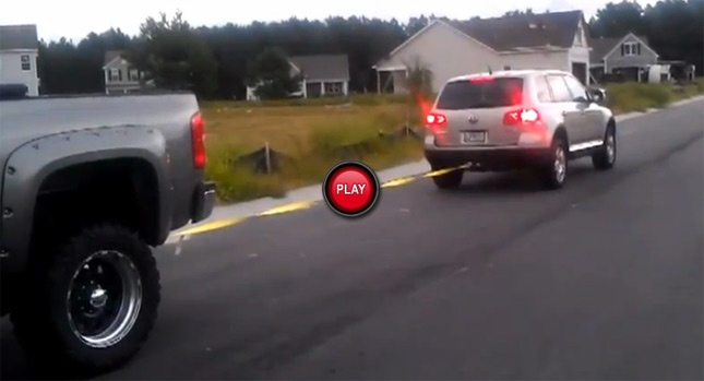 Watch a Tug of War Between a VW Touareg V10 TDI and a Chevrolet Silverado Duramax V8 - Carscoops  Touaregs are awesome!!!