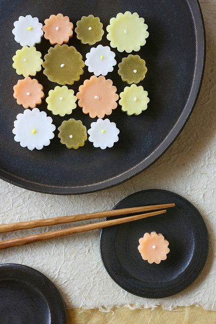 September Wagashi  --- Wagashi shop Kameya-Yoshinaga in Isetan Department Store, Kyoto, Japan ---   Traditional Japanese soft candy (higashi, a kind of wagashi) in the shape of chrysanthemum.   Many products of wagashi shops are changed every 1 month or every a season.
