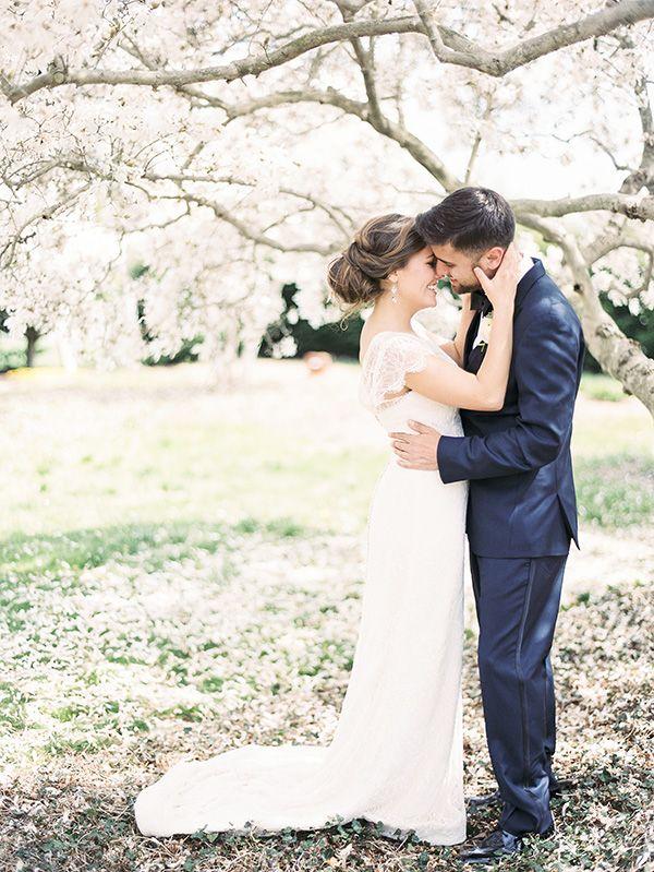 Romantic Cherry Orchard Wedding Portraits | Krista A. Jones Fine Art Photography | Artistic French Blue Wedding