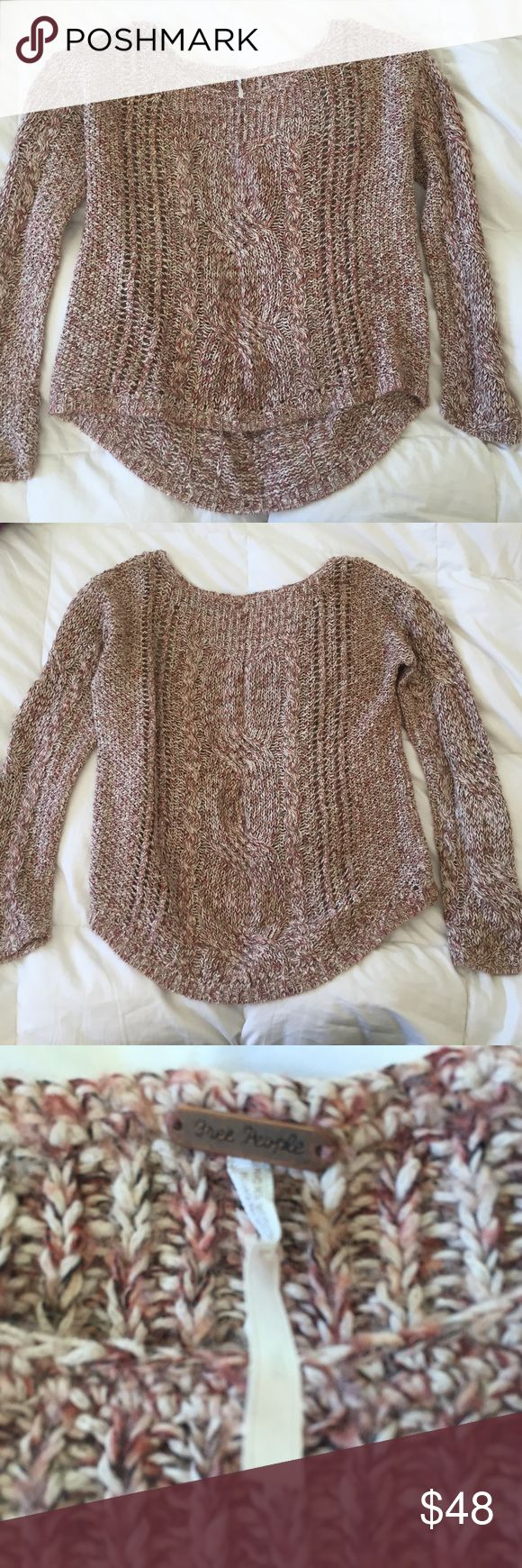 FREE PEOPLE 🍄 relaxed sweater slouchy loose fit Free people woven knit sweater - size large womens ladies sweater pullover with relaxed round scoop neckline , very relaxed comfortable fit , longer cut hem line in the back, nice long sleeves. This sweater is a pretty and neutral palette of tan/brown/cream all interwoven together making a very interesting piece in color and in texture. Very cute to pair with jean shorts in the spring and you are ready for the day! Free People Sweaters Crew…