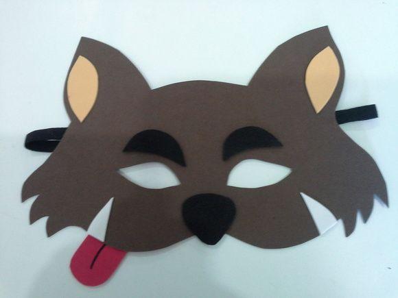 mascara lobo mau em eva, lembrancinha para os meninos na festa da chapeuzinho vermelho. Pedido minimo 5 peças. R$ 3,50