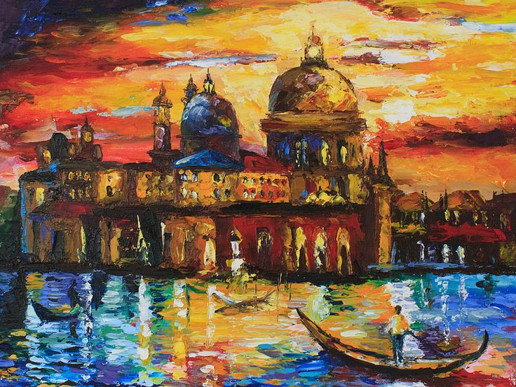 "Chuprovart-oil-painting-Venice  Oil Painting Reproduction Leonid Afremov ""THE GOLDEN SKIES OF VENICE"" (30*40 oil/canvas/palette knife, 2014) Копия картины Леонида Афремова 40*30, холст/масло/мастихин, 2014г. © chuprovart"