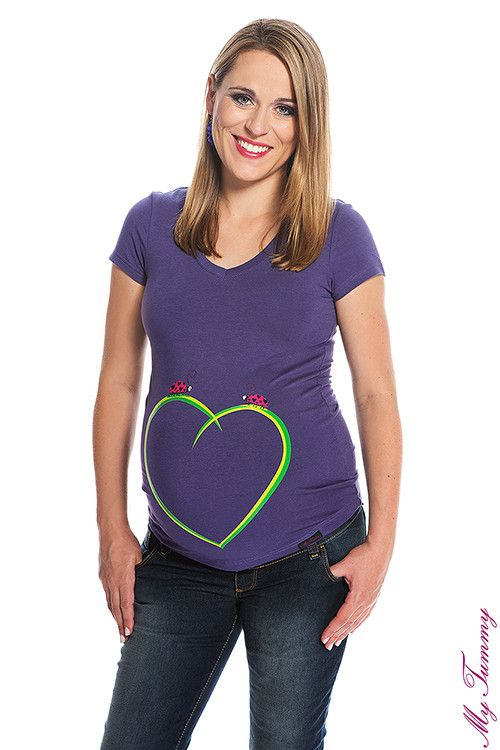 T-shirt ciążowa Biedronki fiolet