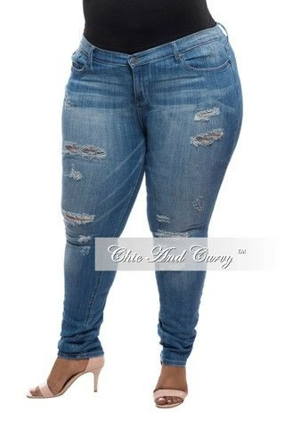 New Plus Size Denim Jeans Distressed with Holes - Light – Chic And Curvy