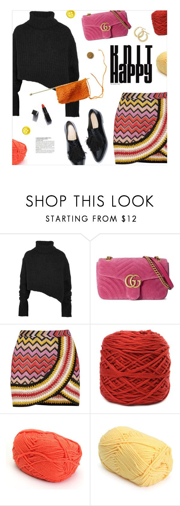 """Dressed for fall"" by magdafunk ❤ liked on Polyvore featuring Ann Demeulemeester, Gucci, Missoni, Garance Doré, McGinn, Oxfords, Sweater, chunkyknits, velvetbag and knitskirts"