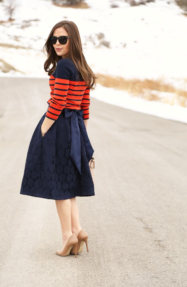 Full skirt with bow in back, striped top, nude heels would be a great spring outfit.