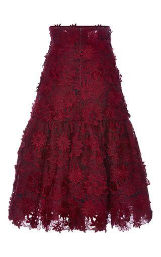 Ruffled Guipure Lace Midi Skirt by COSTARELLOS for Preorder on Moda Operandi