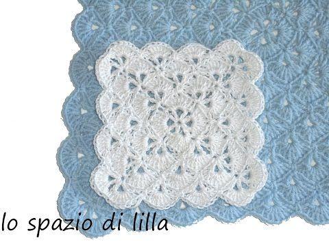 lo spazio di lilla: Facciamo insieme...la piastrella crochet con i ventaglietti / Let's make together...the crochet fan square