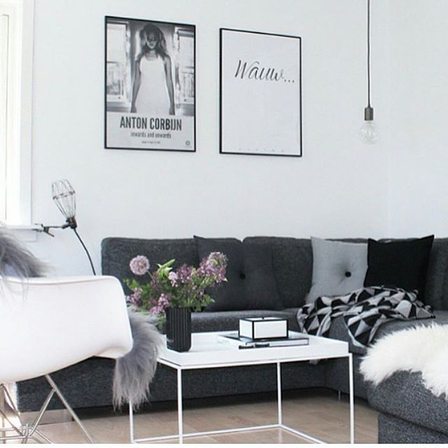 Love this stylish monochrome living room by @sannes_uni featuring the @bythers.dk Button Cushions - on sale now for $105