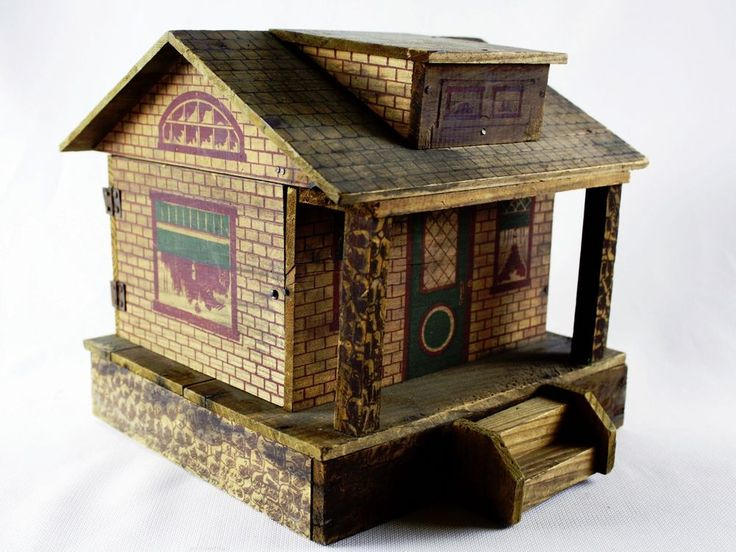 Antique Converse Wooden Dollhouse ~ Vintage Lithographed Wood Doll House
