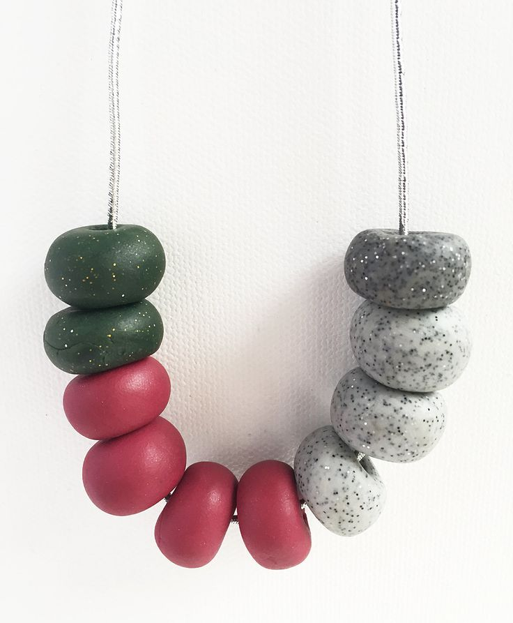 SUSAN -  10 Bead Polymer Clay Necklace with Silver Cord by HenandSole on Etsy