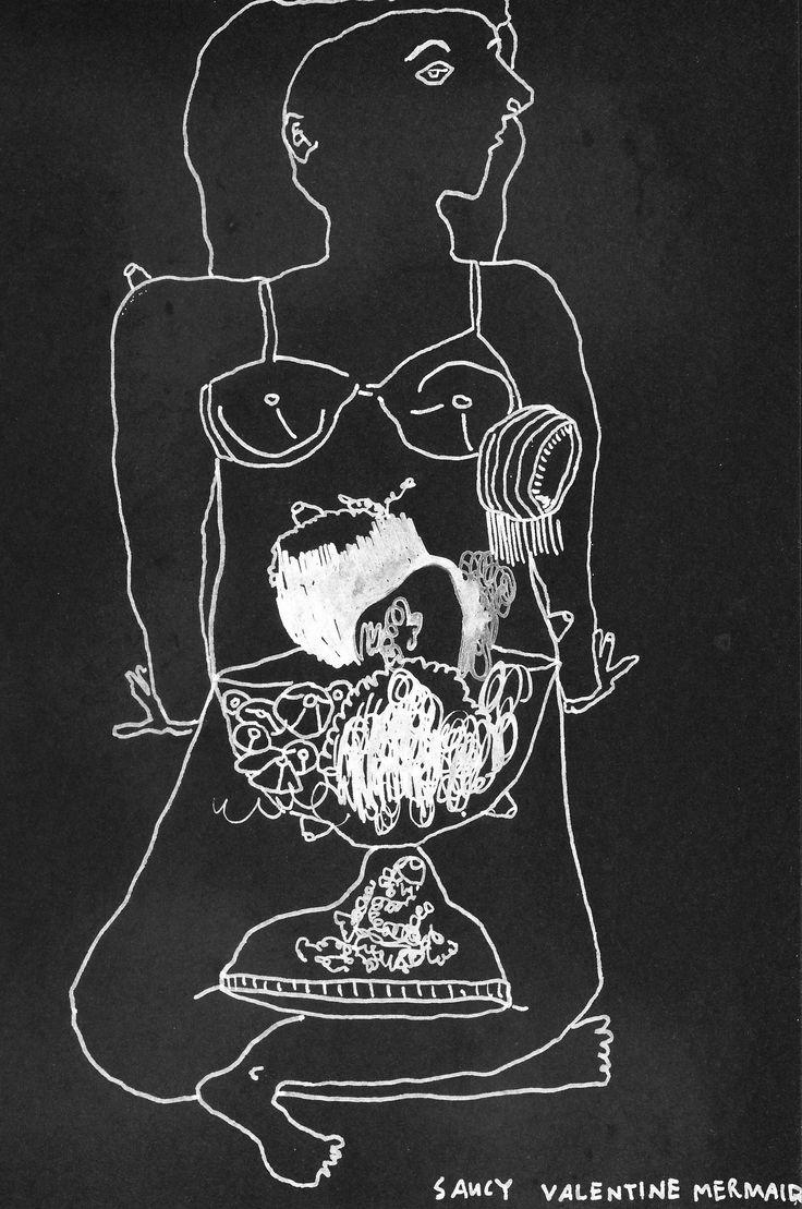 "Emma Minkley - ""Valentine Mermaid"" (2015). White marker on black card."