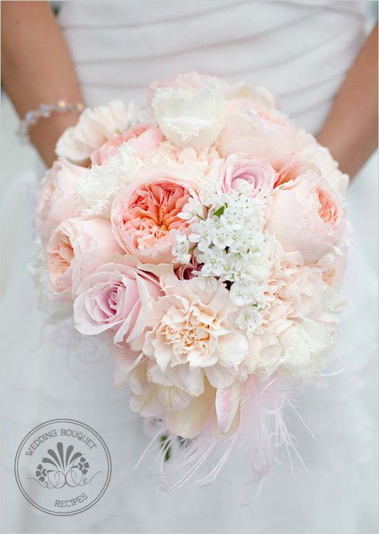 Light Pink Wedding Bouquet of garden roses, narcissus and carnations.