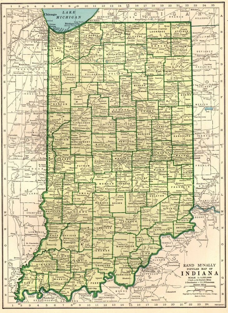 Details about 1943 Vintage INDIANA MAP Antique State Map of Indiana ...