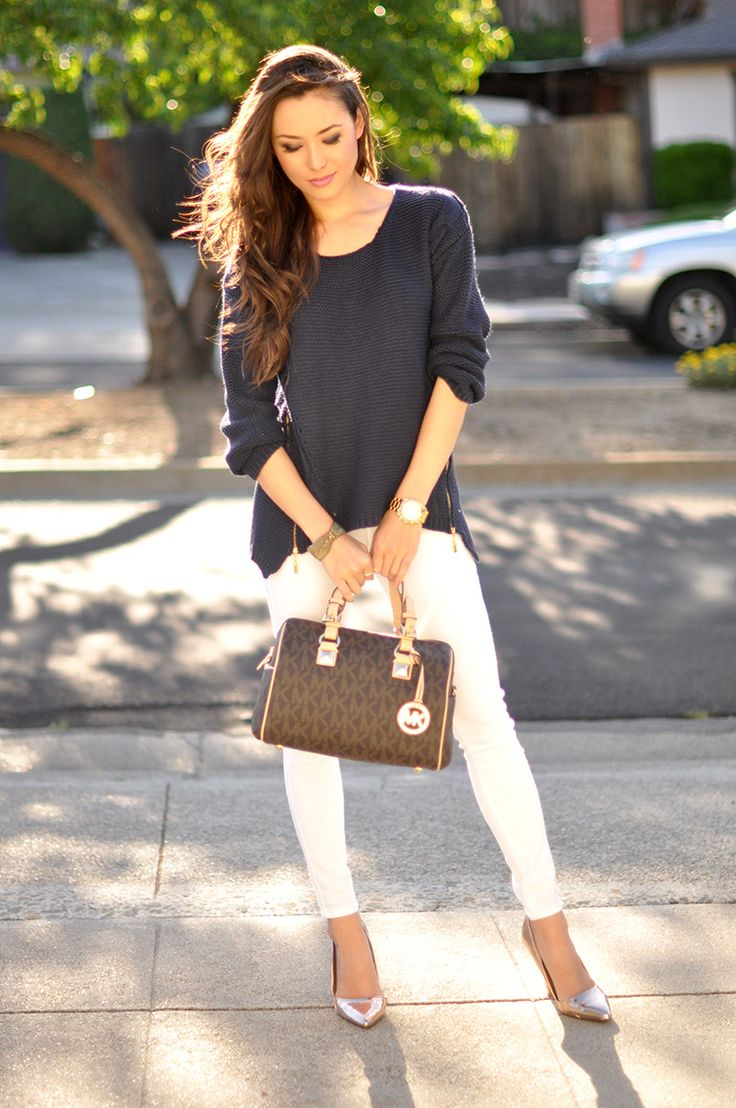 Chic - Sheinside Navy Jumper, Pacsun White Jeans, Michael Kors Grayson Monogram Medium Satchel and Daily Look Shoes