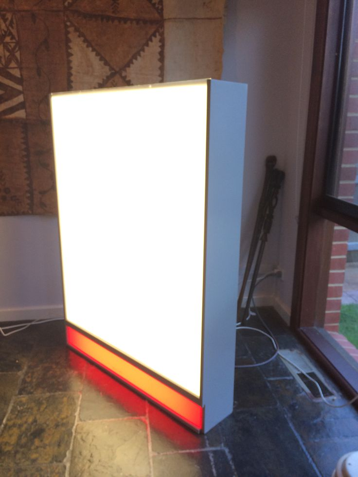 Restored light box I found on the street.  Great lighting for the lounge room