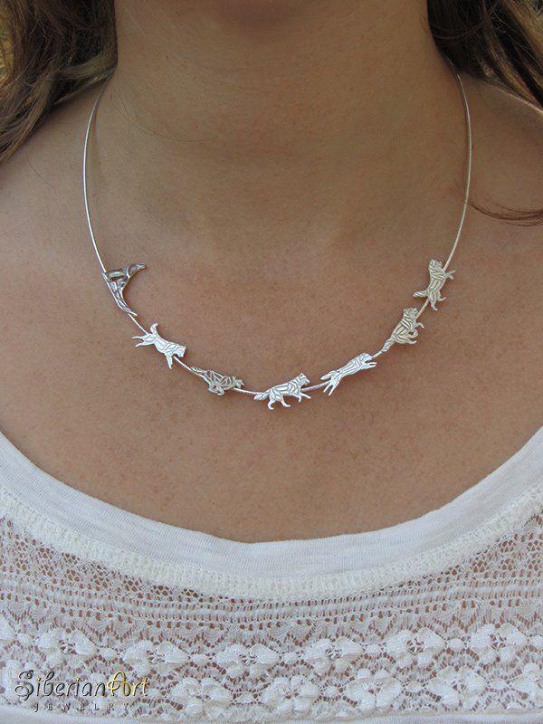 Siberian Husky Team necklace - sterling silver by Siberian Art - Handmade item | eBay
