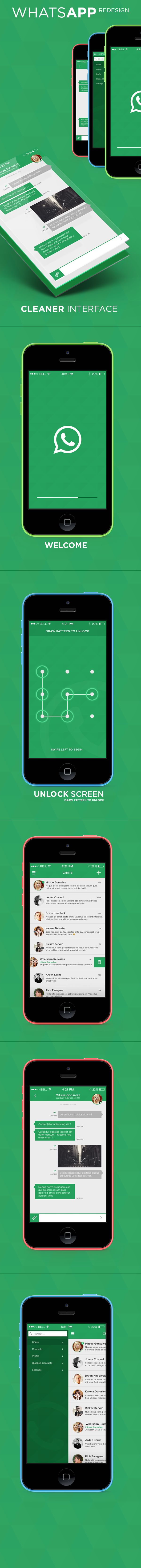 WhatsApp Messenger - iOS 7 Redesign by Rick Karens