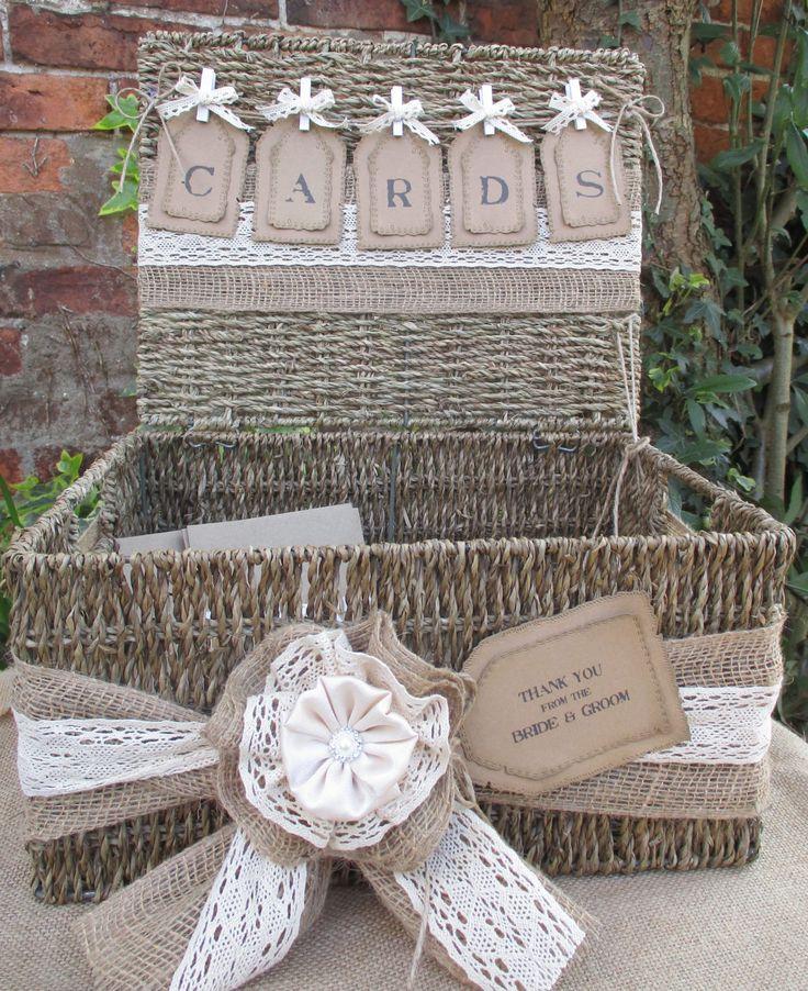 wood wedding card holders%0A Wedding Card Holder Post Box Hamper Basket Wedding Gift Card Post Box   Seagrass Hamper