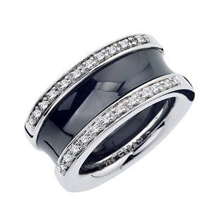Wide Diamond Band in Ceramic and Sterling Silver