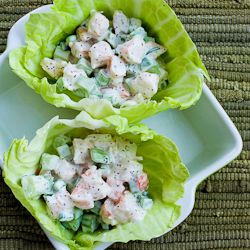 Recipe for Shrimp Salad Cabbage Cups | Kalyn's Kitchen® - Used whole wheat wraps instead