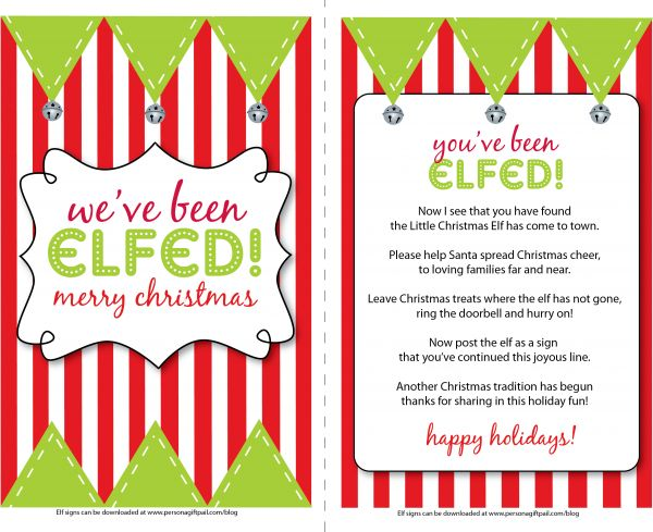 """You've been elfed! What a great idea!......just like the """"you've been booed!"""" version for Halloween."""