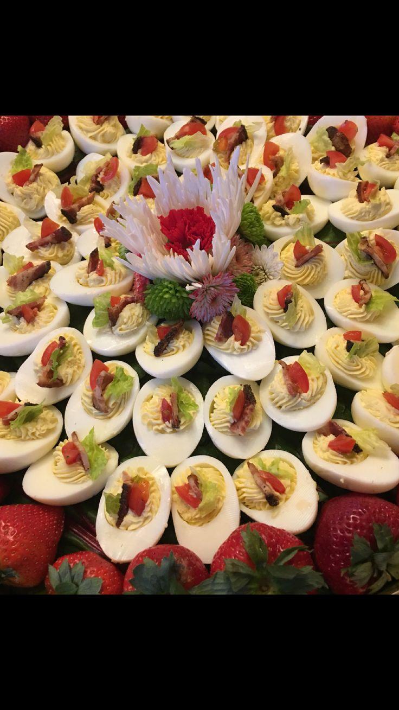 Holiday BLT Deviled Eggs  AlaskaCoastalCatering.com