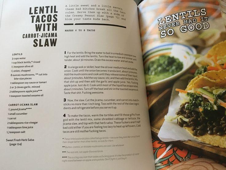 Vegan lentil tacos with carrot-jicama slaw recipe from Thug Cookbook
