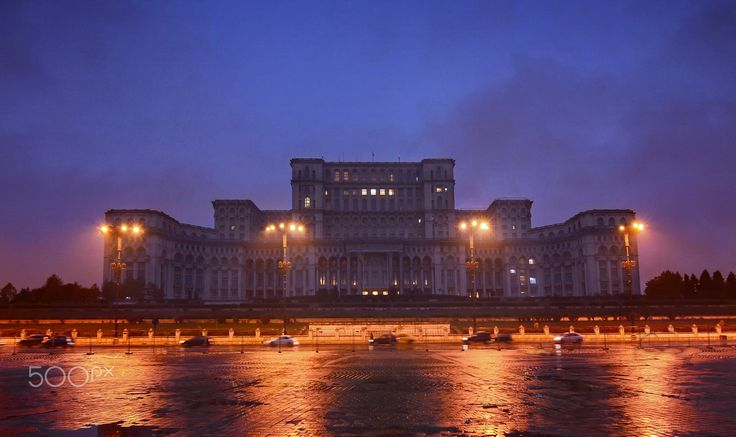 House of Cards - Palace of the Parliament in Bucharest, Romania, the world's largest civilian building with an administrative function.  #Bucharest #Palace #Parliament #architecture #building #night #Romania #sunset