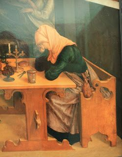 Medieval woodworking- German type 'strycsitten' is depicted on this oil on panel painting by an anonymous German painter of around 1520, showing the birth of Maria (detail)