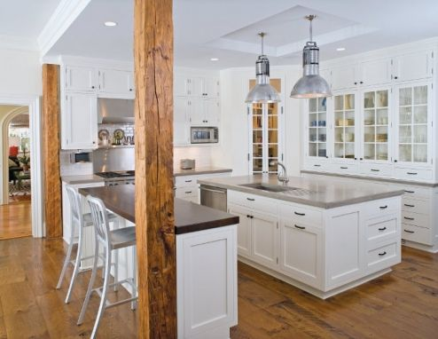 White and Wood: Wooden Beams, Home Tours, Dreams Kitchens, Dark Cabinets, Industrial Lights, Pendants Lights, Real Surface, White Cabinets, White Kitchens