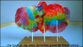 De tout et de rien: Activités pour le Préscolaire: Homemade lollipops with crushed candies - Faire des sucettes avec des bonbons écrasés