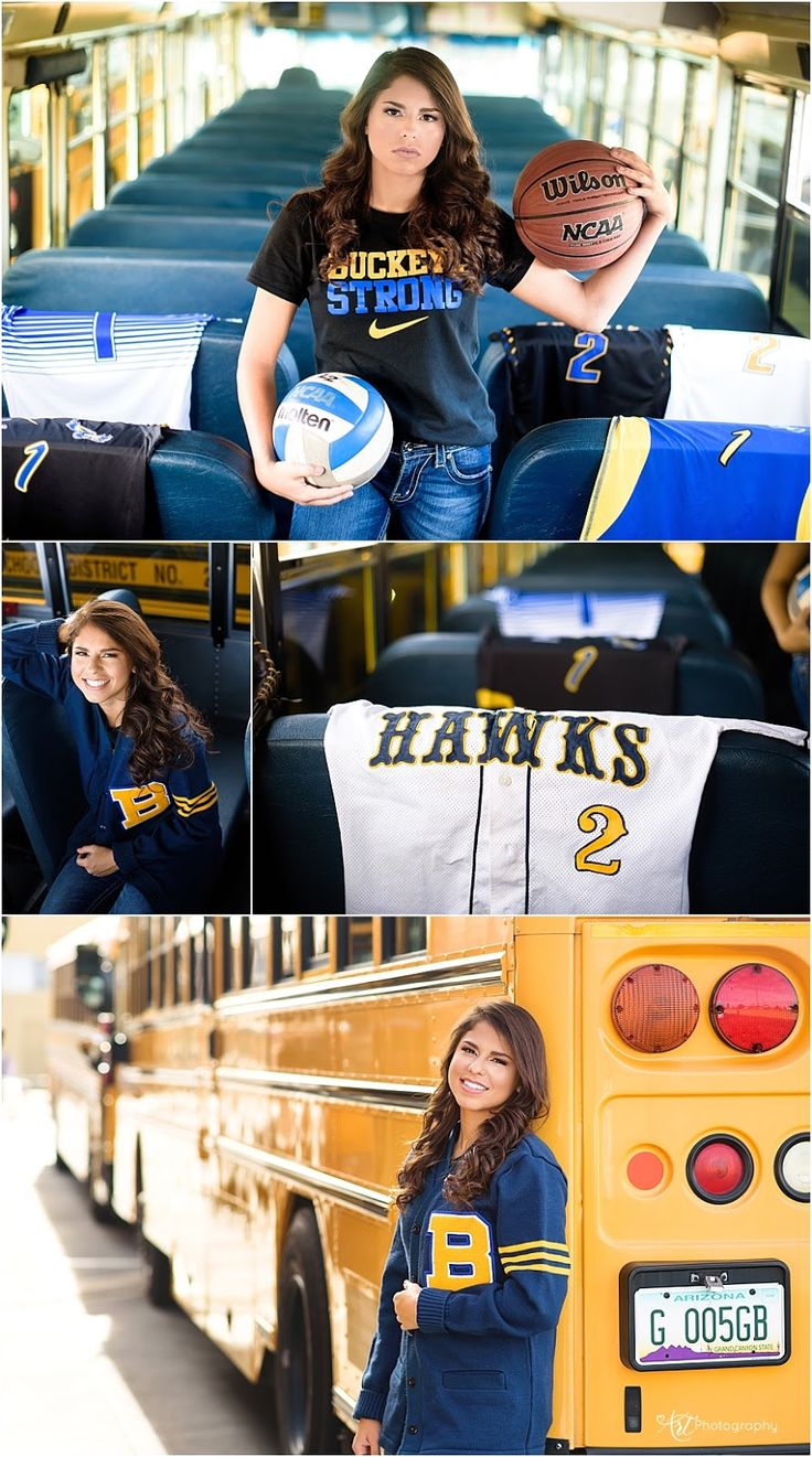 Senior Session athlete. Basketball, volleyball, softball and soccer player. Senior pictures with school bus.