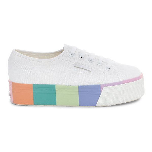 Superga 2790 Cotmultifoxingw Women's Platform Sneakers (555 DKK) ❤ liked on Polyvore featuring shoes, sneakers, platform lace up shoes, lacing sneakers, platform trainers, platform sneakers and embellished shoes