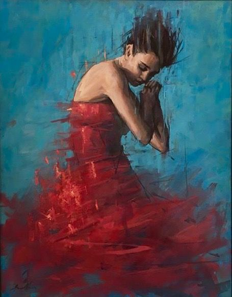 'Cherry Red on Cerulean ' 42ins by 36ins oil on canvas. Www.jamelakib.com