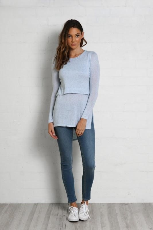 Hana Overlay Knit Top in Ice Blue by Madison Square - (Pre-Order)