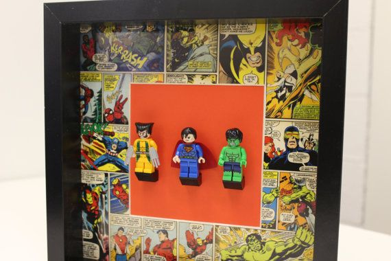 Framed Wolverine Superman Hulk Lego by ConsoleChameleon on Etsy