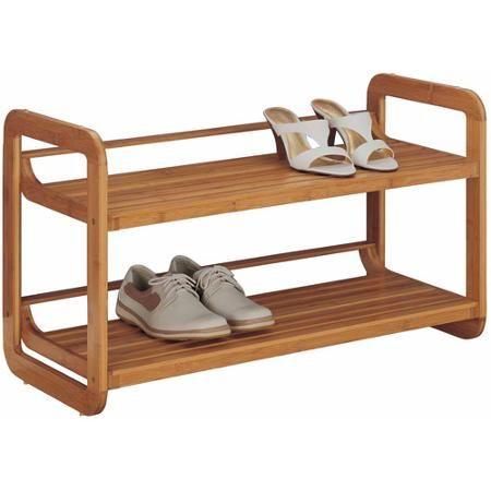 organize it all 17072w1 2tier bamboo stackable shoe rack walmart