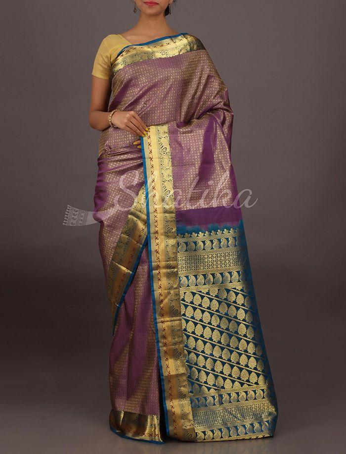 Sharvya Purple Color With Blue Ornate Border Pallu Pure #SalemSilkSaree