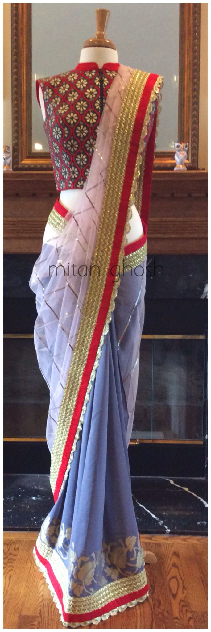 Crepe and net saree