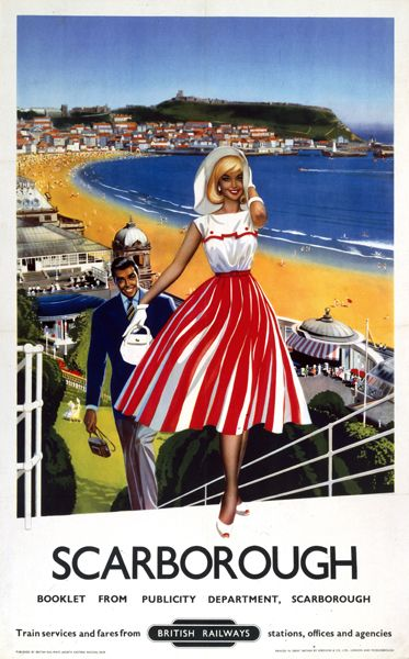 Briitish Rail Vintage Holiday Poster.   Come to Scarborough a seaside resort town in England.  This was when people dressed up to go on holiday 50s and 60s.