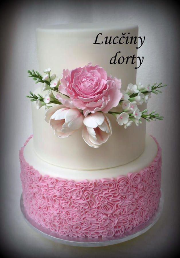 Wedding cake with peony and tulip  by Lucyscakes - http://cakesdecor.com/cakes/207110-wedding-cake-with-peony-and-tulip