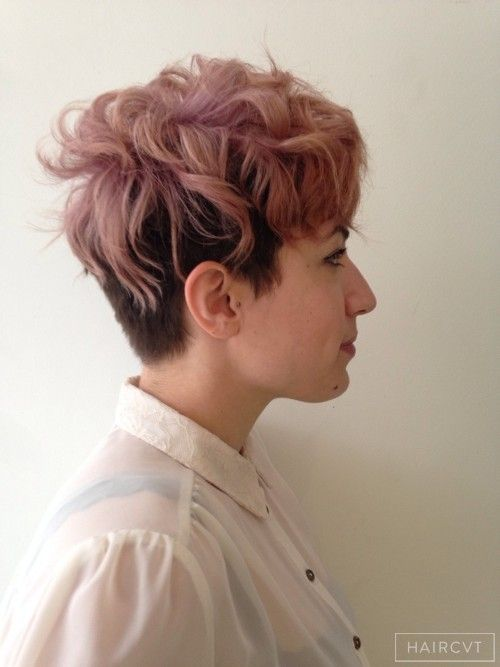 women undercut messy tousled hairstyle