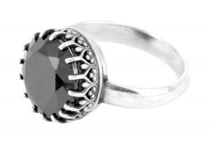 Faceted onyx gallery ring in onyx and sterling silver - $450