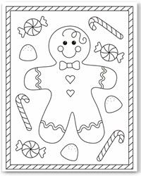 FREE...Christmas coloring  pages of a Gingerbread boy or girl.