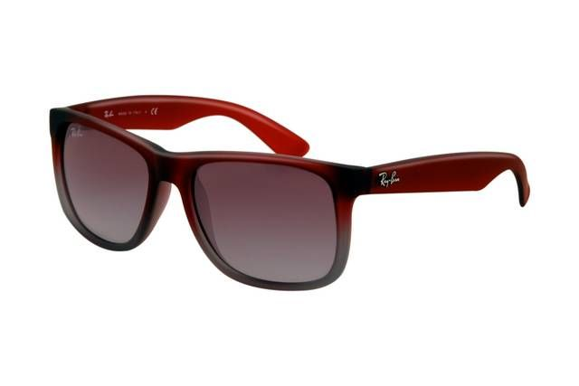Ray Ban Justin RB4165 Sunglasses Rubber Red Grey Frame Grey Gradient Lens