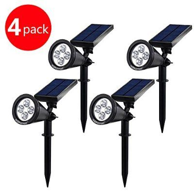 {New Version 2 Modes} 200 Lumens Solar Wall Lights / In-ground Lights, 180°angle Adjustable and Waterproof 4 LED Solar Outdoor Lighting, Spotlights, Security Lighting, Path Lights (TD-604, 4 Pack)