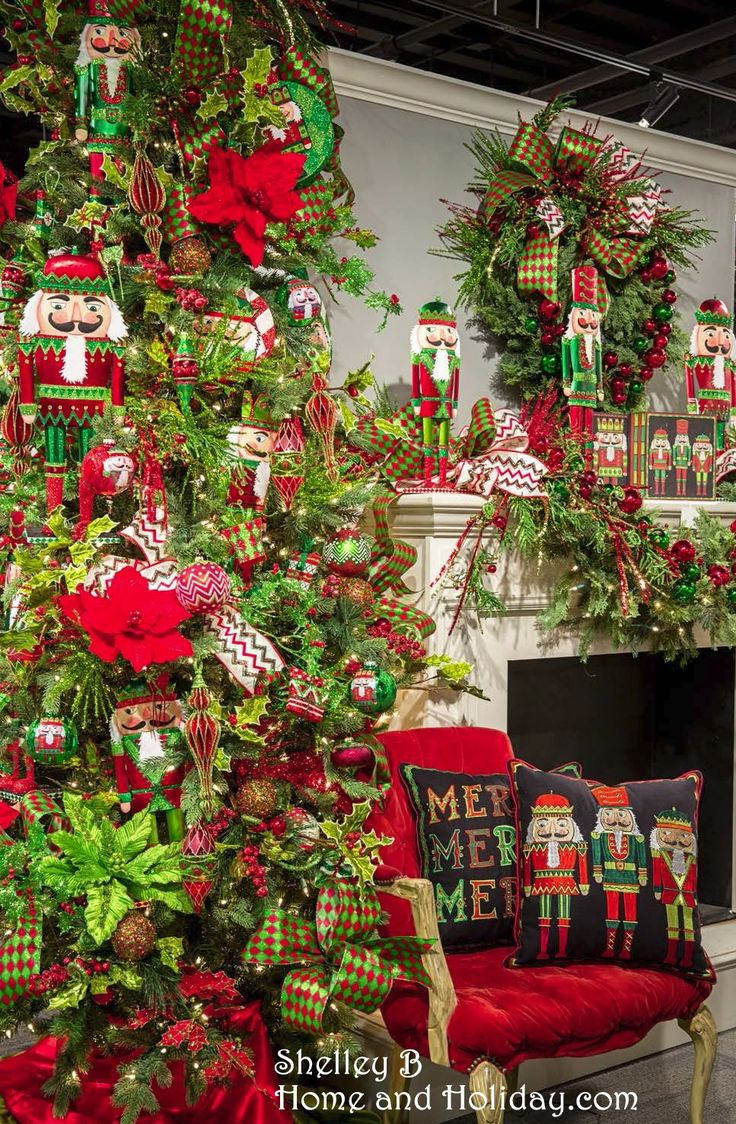 How to make a nutcracker christmas decoration - Visit Our Site To See Our Decorated Tree Video Filled With Red And Green Ornaments And Christmas Elves Lighted Top Hats And Nutcrackers