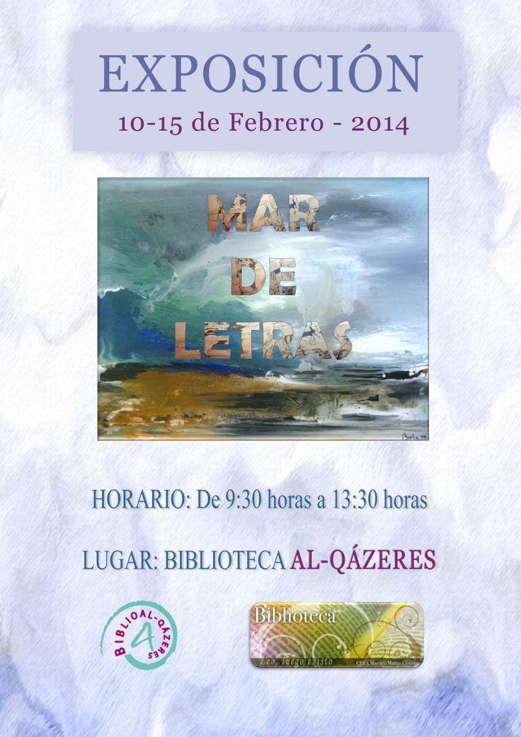 """Exposición """"Mar de Letras"""" en nuestra biblioteca, en colaboración con el CEPA Martín Cisneros. La literatura y la pintura unidas por el mar."""