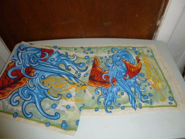 Womens Ed Hardy Koi Fish Japanese Goldfish Ocean Waves Long Sheer Scarf